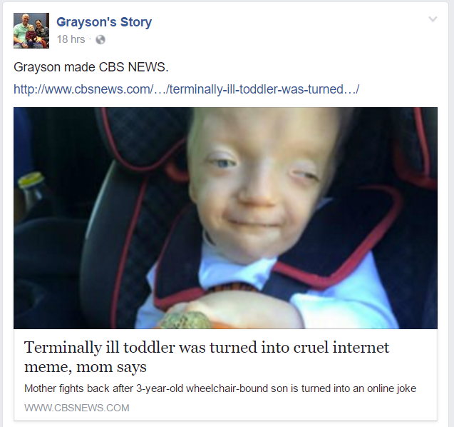 Terminally Ill Boys Mom Fights To Get Cruel Meme Removed