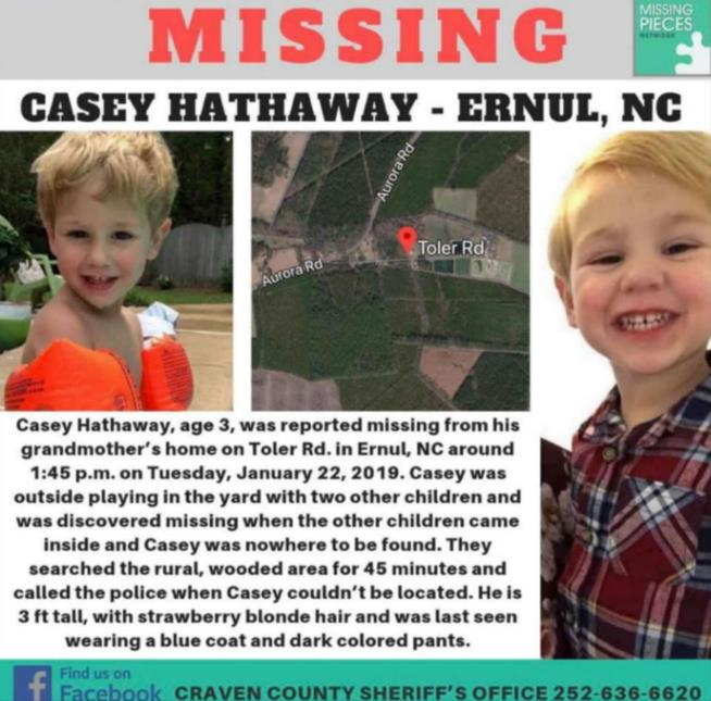 Missing NC 3-year-old Casey Hathaway found alive, sheriff says