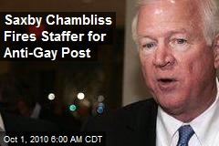 Saxby Chambliss Fires Staffer for Anti-Gay Post