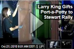 Larry King Gifts Port-a-Potty to Stewart Rally