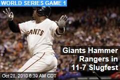 Giants Hammer Lee in 11-7 Slugfest
