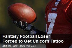 Fantasy Football Loser Forced to Get Unicorn Tattoo