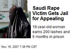 Saudi Rape Victim Gets Jail for Appealing