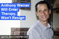 Anthony Weiner Will Enter Therapy, Take Temporary Leave From Congress