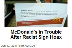 McDonald's in Trouble After Racist Sign Hoax