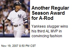Another Regular Season Award for A-Rod