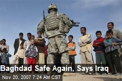 Baghdad Safe Again, Says Iraq