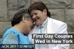 First Gay Couples Wed in New York as Same-Sex Marriage Becomes Legal at 12:01am