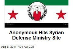 Anonymous Hits Syrian Defense Ministry Site