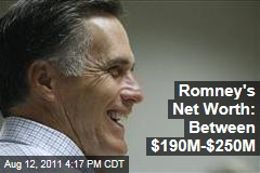 Mitt Romney's Net Worth Somewhere Between $190 Million to $250 Million