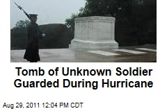 Tomb of Unknown Soldier Guarded During Hurricane Irene