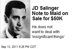 JD Salinger Note to Maid on Sale for $50K