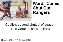 Ward, 'Canes Shut Out Rangers