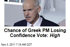Chance of Greek PM George Papandreou Losing Tomorrow's Confidence Vote: High