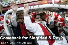 Comeback for Siegfried & Roy?