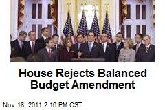 House Rejects Balanced Budget Amendment