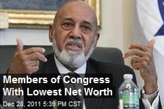 Members of Congress With Lowest Net Worth