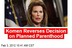 Komen Restores Funds to Planned Parenthood