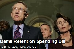 Dems Relent on Spending Bill