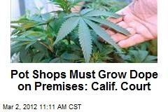 Pot Shops Must Grow Dope on Premises: Calif. Court