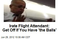 Irate Flight Attendant: Get Off If You Have 'the Balls'