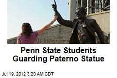 Penn State Students Guarding Paterno Statue