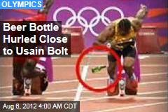 Beer Bottle Hurled Close to Bolt