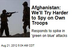 Afghanistan Boosts Spying on Own Troops