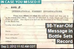 98-Year-Old Message in Bottle Sets Record