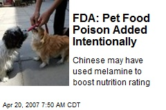 FDA: Pet Food Poison Added Intentionally