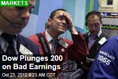 Dow Plunges 200 on Bad Earnings