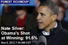 Nate Silver: Obama's Shot at Winning: 91.6%