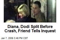 Diana, Dodi Split Before Crash, Friend Tells Inquest