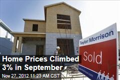 Home Prices Climbed 3% in September