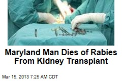 Maryland Man Dies of Rabies From Kidney Transplant