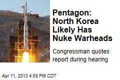 Pentagon: North Korea Likely Has Nuke Warheads