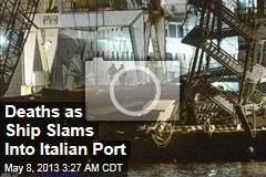 Cargo Ship Slams Into Genoa Port Tower
