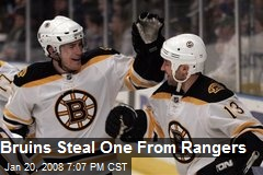 Bruins Steal One From Rangers