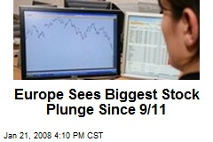 Europe Sees Biggest Stock Plunge Since 9/11