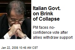 Italian Govt. on Brink of Collapse