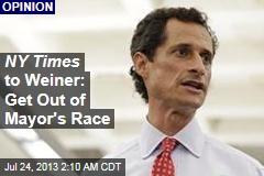 NY Times to Weiner: Quit Mayor's Race