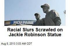 Racial Slurs Scrawled on Monument to Jackie Robinson