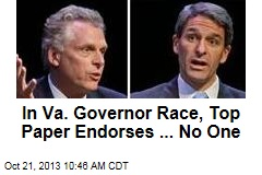 In Va. Governor Race, Top Paper Endorses ... No One