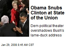 Obama Snubs Clinton at State of the Union