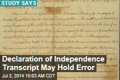 Declaration of Independence Transcript May Hold Error