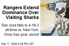 Rangers Extend Dominance Over Visiting Sharks