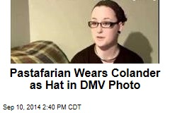 Pastafarian Wears Colander as Hat in DMV Photo