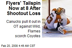 Flyers' Tailspin Now at 8 After Shootout Loss