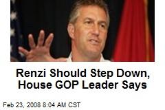 Renzi Should Step Down, House GOP Leader Says