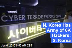 N. Korea Has Army of 6K Hackers: S. Korea
